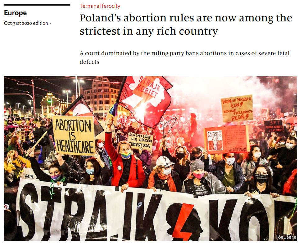 Poland's abortion rules are now among the strictest in any rich country economist20201031